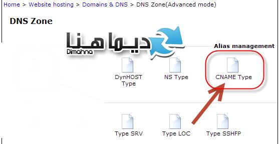 ايقونة Cname في لوحة تحكم DNS